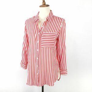 Grand & Greene Red & white stripe shirt S